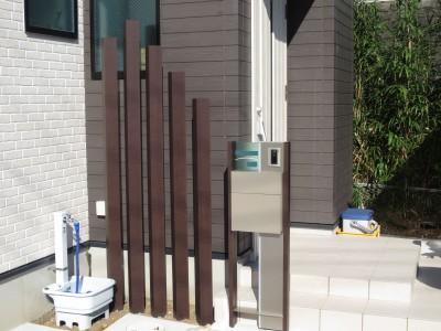 機能門柱 枕木